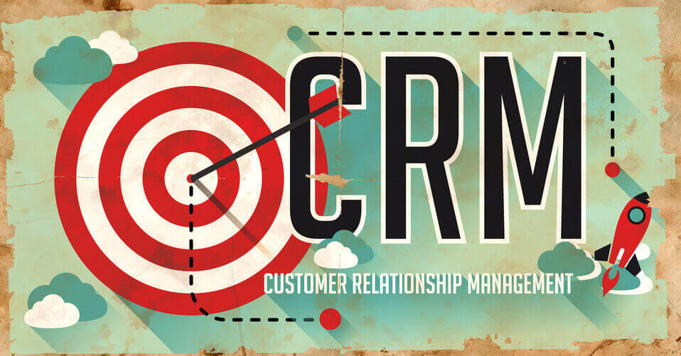 CRM Concept. Poster on Old Paper in Flat Design with Long Shadows.